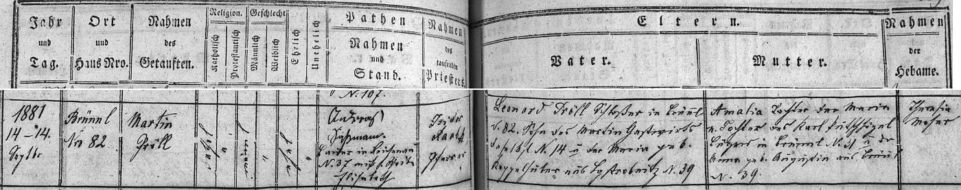 Záznam o jeho narození v křestní matrice farní obce Dobrá Voda u Nových Hradů