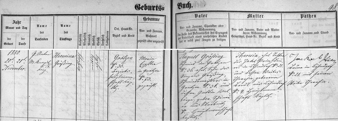 Záznam novohradské křestní matriky o zdejším narození jeho ženy