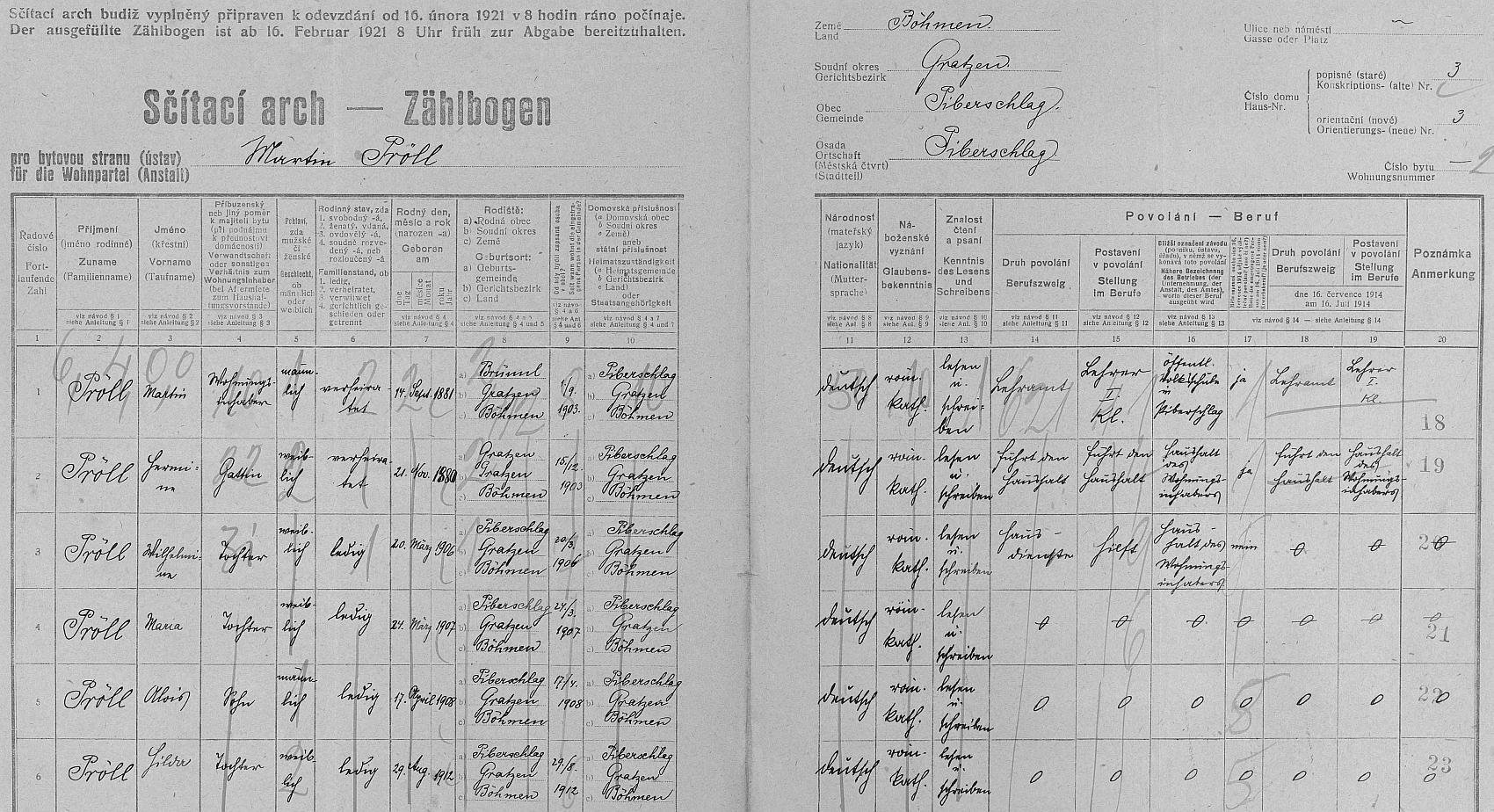Arch sčítání lidu z roku 1921 pro dům ve dnes zaniklém Veveří čp. 3 s rodinou Pröllovou