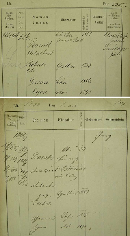 Dvě pražské policejní přihlášky rodiny Prorokovy i s jeho jménem