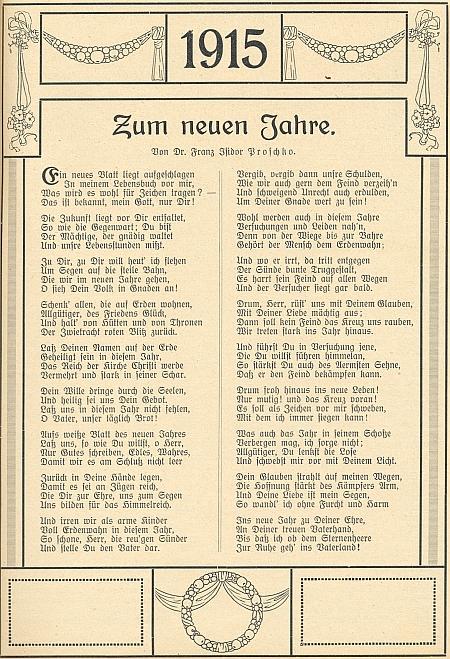 """Jeho báseň """"K Novému roku"""" vyšla na stránkách """"Krumlovského kalendáře aadresáře pro jižní Čechy na rok 1915"""""""