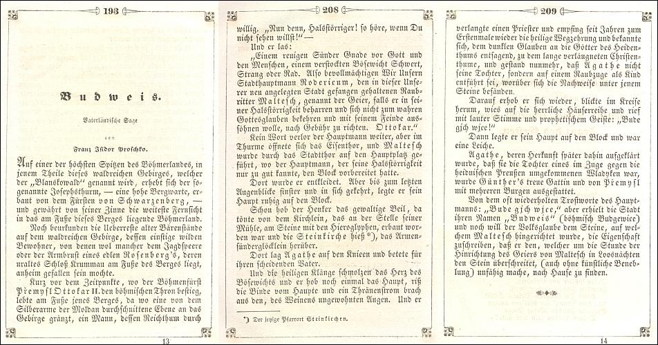 Počátek a závěr jeho zpracování pověsti o původu místního jména Budějovice v almanachu Libussa na rok 1846