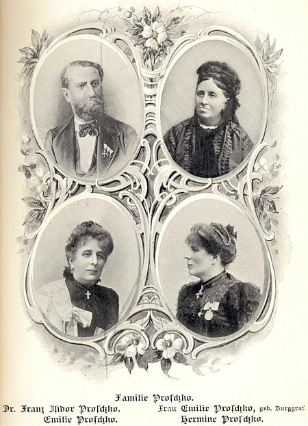 Rodina Proschkova, nahoře otec a matka, dole jejich dcery
