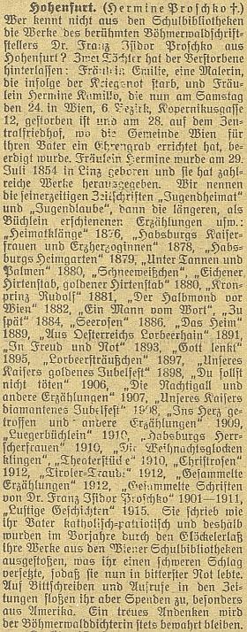 """Nekrolog v """"Budweiser Zeitung"""" přináší i výčet jejích prací"""