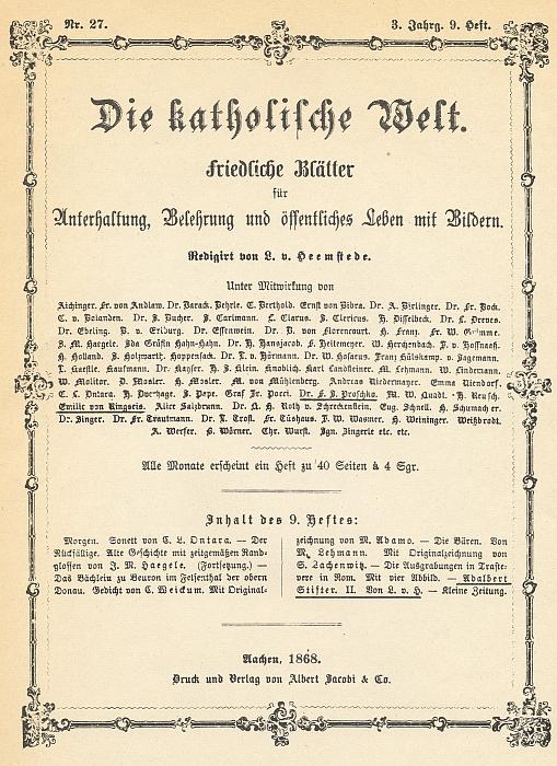 """Obálka (1868) časopisu """"Die katholische Welt"""", který vycházel v Cáchách a jehož byla stejně jako její otec spolupracovnicí - řídil ho Leo van Heemstede"""