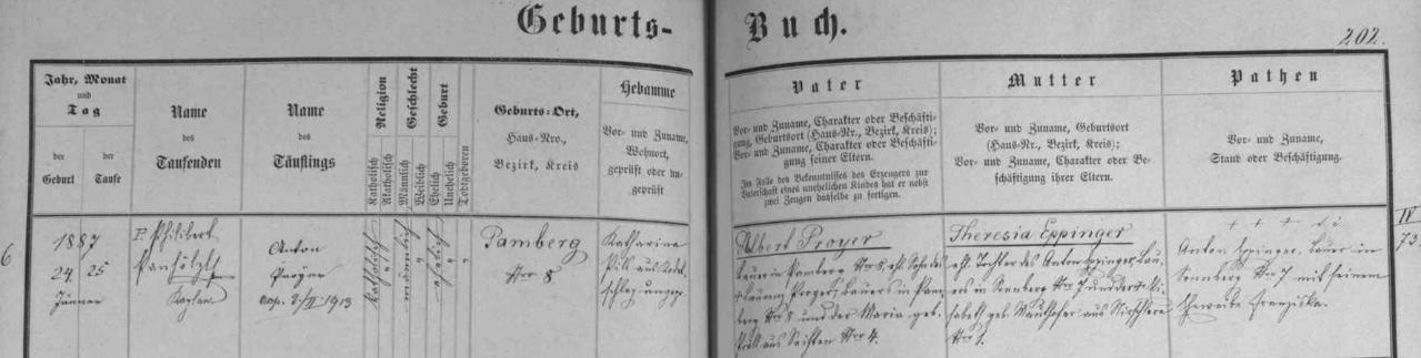 Záznam křestní matriky farní obce Rožmberk nad Vltavou o narození otcově v zaniklém dnes Babí čp. 8