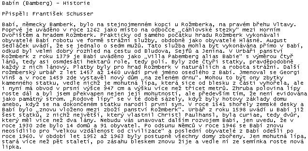 Text Františka Schussera a o zaniklé vsi Babí