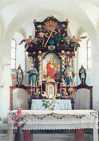 Oltář farního kostela sv. Kateřiny v Hartmanicích