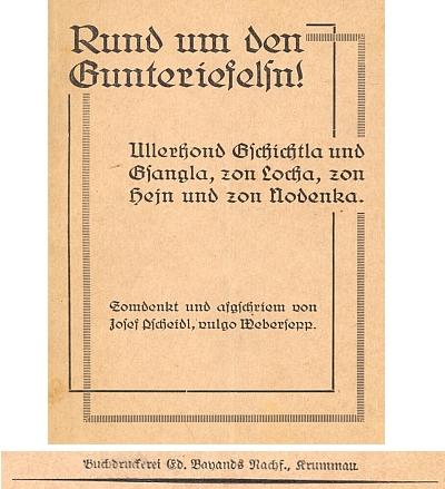 Obálka (1932) knihy jeho nářečních veršů vydané v Českém Krumlově