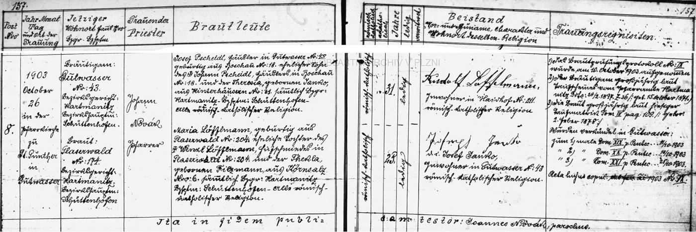 Záznam oddací matriky farní obce Dobrá Voda u Hartmanic o zdejší svatbě Josefa a Marie Pscheidlových necelý rok před jeho narozením dne 26. října roku 1903 v kostele sv. Vintíře - jedenatřicetiletý ženich Josef Pscheidl, domkář zezdejšího stavení čp. 45, se narodil ve zcela dnes zaniklé samotě Bošov (Boschau) čp. 18 jako syn Johanna Pscheidla aTheresie, roz. Janko ze zaniklých dnes rovněž Zadních Chalup (Hinterhäusern) čp. 31, pětadvacetiletá nevěsta Maria Löfflmannová se narodila v také dnes zcela zaniklé osadě Skelná (Glaserwald) čp. 204 jako dcera tamního podkováře Wenzla Löfflmanna a jeho ženy Thekly, roz. Filzmannové z Krušce (Körnsalz) čp. 6