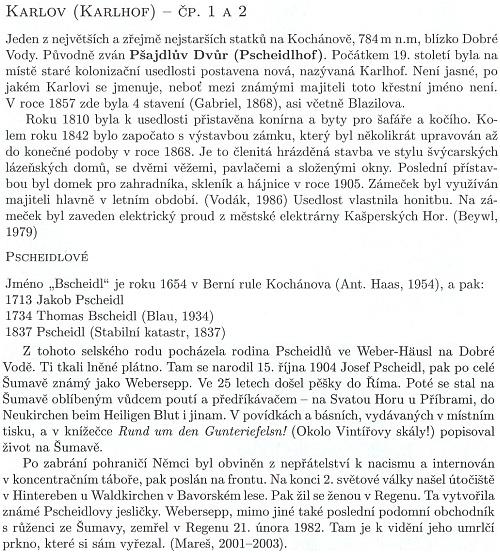 O rodu Pscheidlových a Karlovu, z části s použitím informací z Kohoutího kříže