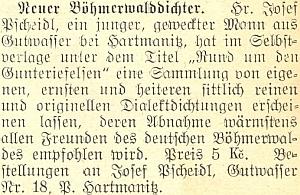 """O něm jako """"novém šumavském básníkovi"""" na stránkách meziválečného německého listu českobudějovického biskupství"""