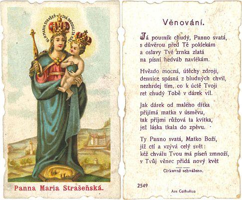 Poutní obrázek Panny Marie Strašínské