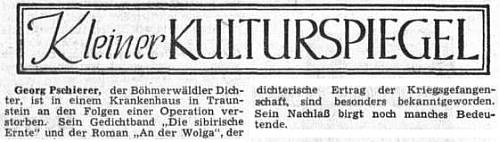 Zpráva o jeho úmrtí v Sudetendeutsche Zeitung