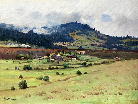 Okolí Girglhofu na obraze Antonína Chitussiho (1847-1891) nazvaném Krajina pod horami a uchovávaném ve sbírkách Národní galerie v Praze