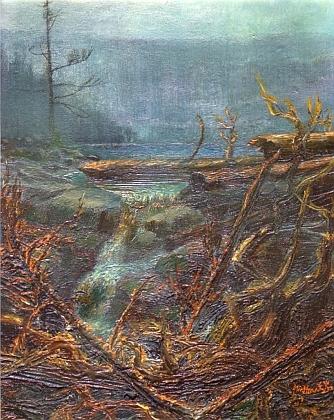 Čertovo jezero na leptu Cyrila Vondrouše (1884-1970) a olejomalbě Miroslava Houště (*1953)