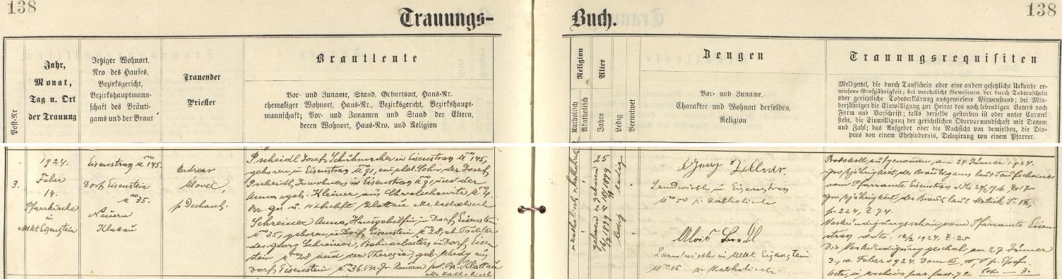 Záznam železnorudské oddací matriky o svatbě jeho rodičů ve zdejším farním kostele Panny Marie Pomocnice zHvězdy dne 14. února roku 1924 - oddávajícím knězem byl děkan Andreas Úlovec, ženich Josef Pscheidl, švec vHojsově Stráži čp. 145, narozený v Hojsově Stráži čp. 91 dne 18. listopadu 1899, byl synem Josefa Pscheidla, podruha v Hojsově Stráži čp. 91, a Anny, roz. Kleinerové z Chvalšovic (dnes část městyse Čachrov) čp. 4, nevěsta Anna, pomocnice v domácnosti v Železné Rudě čp. 35, narodila se v Železné Rudě čp. 28 dne 16. července 1899 jako dcera Georga Schreinera, železničního dělníka bytem v Železné Rudě čp. 28 a Theresie, roz. Wudyové ze Železné Rudy čp. 36