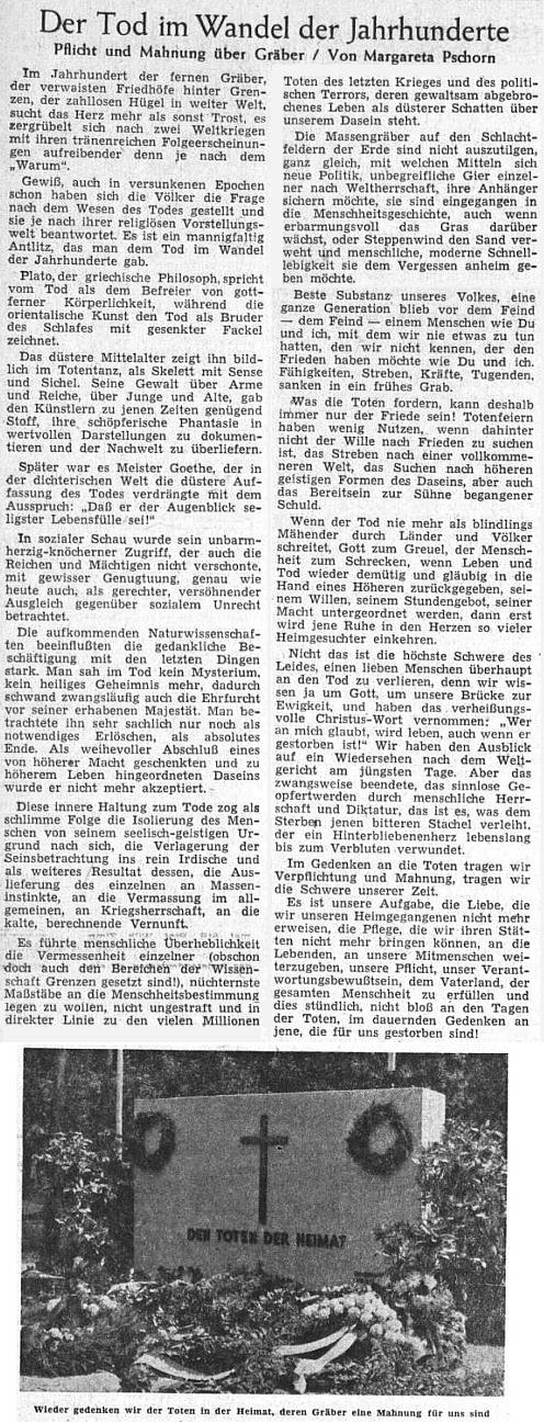 Na Dušičky 1955 uveřejnil list Sudetendeutsche Zeitung tento její text