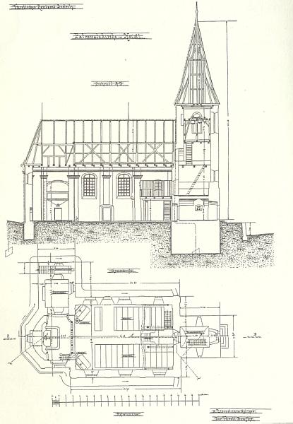 Stavební výkres kostela Nejsvětější Trojice ve Zhůří