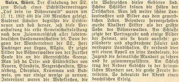 """Zpráva o jeho přednášce """"se světelnými obrazy"""" v Aalenu 17. listopadu roku 1952 uvádí jako Puchingerovo zaměstnání """"Wanderredner der SL"""", tj. """"putovní (vandrovní) řečník Sudetoněmeckého krajanského sdružení"""""""