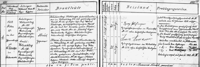 Puchingerů bylo v zaniklém dnes zcela Zhůří pod Javornou a v okolí tolik, že když si v roce 1902 tovární dělník Johann Baptist Puchinger bral podle oddací matriky farní obce Dobrá Voda u Hartmanic Klaru Armannovou z rovněž dnes zcela zaniklé Paseky (Holzschlag), uvádí záznam nejen jako jeho rodiče Wenzla Puchingera ze Zhůří pod Javornou čp. 22 a Rosalii, roz. Puchingerovou ze Zhůří pod Javornou čp. 20, nýbrž jako jednoho ze svatebních svědků tu vidíme podepsaného Ignaze Puchingera, mistra brusiče zrcadel z také zcela zaniklé osady Frauenthal čp.55