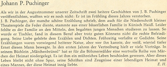 Ani opožděný nekrolog Ericha Hanse v říjnovém čísle krajanského měsíčníku neuvádí přesné datum Puchingerova skonu: došlo k němu někdy na jaře téhož roku 1965