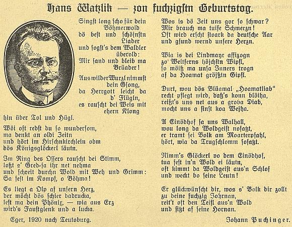"""Báseň k padesátinám Hanse Watzlika ze stránek prosincového čísla českobudějovického časopisu """"Waldheimat"""" z roku 1929 je psána šumavským nářečím a podepsána jménem Johann Puchinger"""
