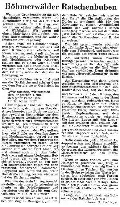 Ve velikonočním čísle Sudetendeutsche Zeitung se roku 1952 objevil jeho článek o šumavských klucích s řehtačkami - byl, jak píše, jedním z nich