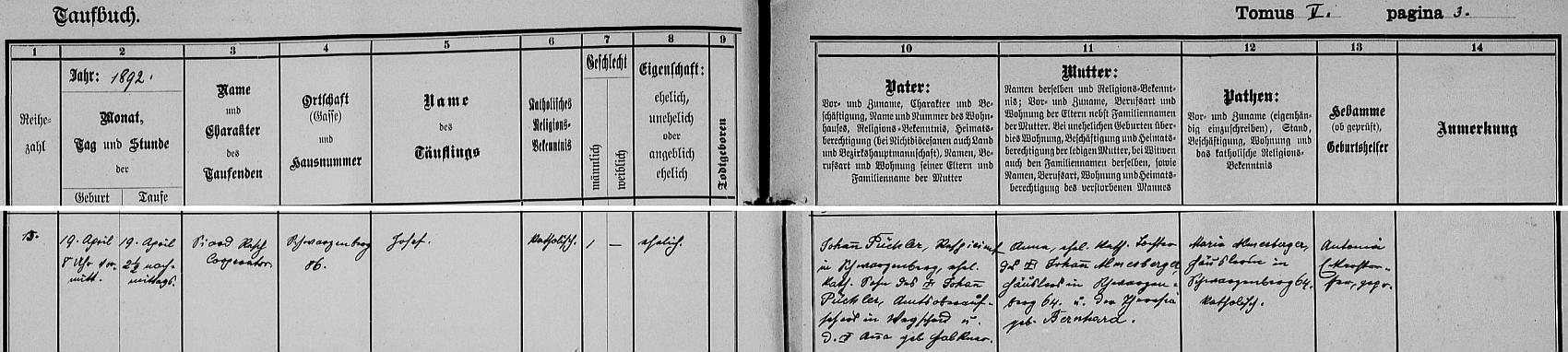 Záznam o jeho narození v křestní matrice farní obce Schwarzenberg nám prozrazuje, že byl pokřtěn jménem Josef