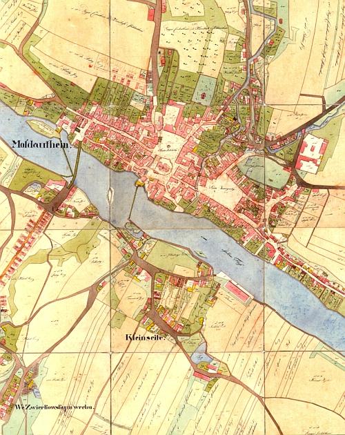 Týn nad Vltavou na indikační skice stabilního katastru z roku 1828