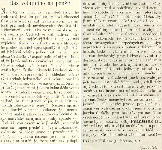 Předmluva jednoho ze svazků jeho Sebrání básní a zpěvů je datována koncem března 1797 v šumavské Ktiši