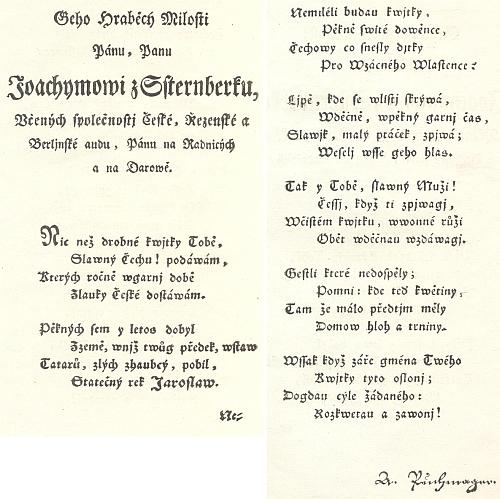 Věnování jeho Nových básní (1798) hraběti Jáchymovi ze Šternberka