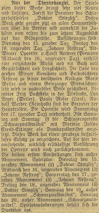 """Zprávy z """"divadelní kanceláře"""" v červnu 1920 v českobudějovickém německém listě"""