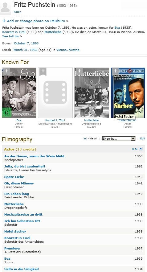 Jeho záznam a filmografie v databázi IMDb