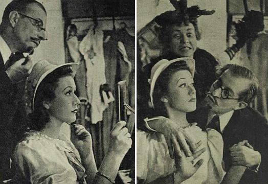 """Tady s vousem a brýlemi figuruje na dvou snímcích z vídeňské komedie, uvedené podle ilustrovaného časopisu """"Die Bühne"""" v roce 1939"""