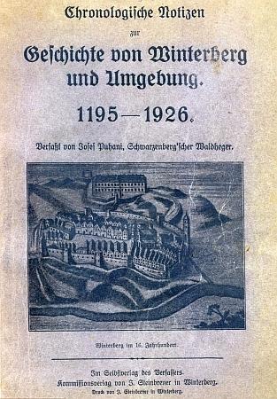 Obálka (1926) se starým vyobrazením Vimperka v 16. století
