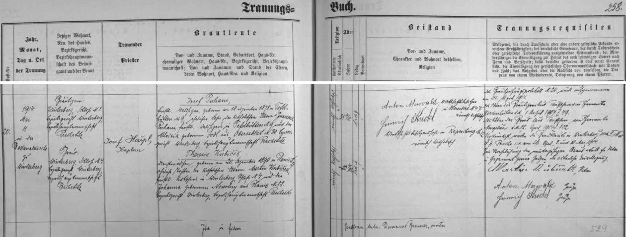 Oženil se podle záznamu vimperské oddací matriky dne 11. května roku 1914 ve zdejším děkanském chrámu s Theresií, narozenou 20. prosince roku 1890 v Pláních (dnes část Nových Hutí), dcerou knížecího kočího ve Vimperku Martina Kubičeka a Johanny, rozené Nowotny z Plání - ženichovi bylo 35, nevěstě 23 let