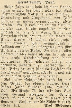 """Tady vyslovuje Adolf Webinger obzvláštní dík dárci pěti opisů Puhaniho knihy """"Chronologische Notizen"""" dokrajanské knihovny"""