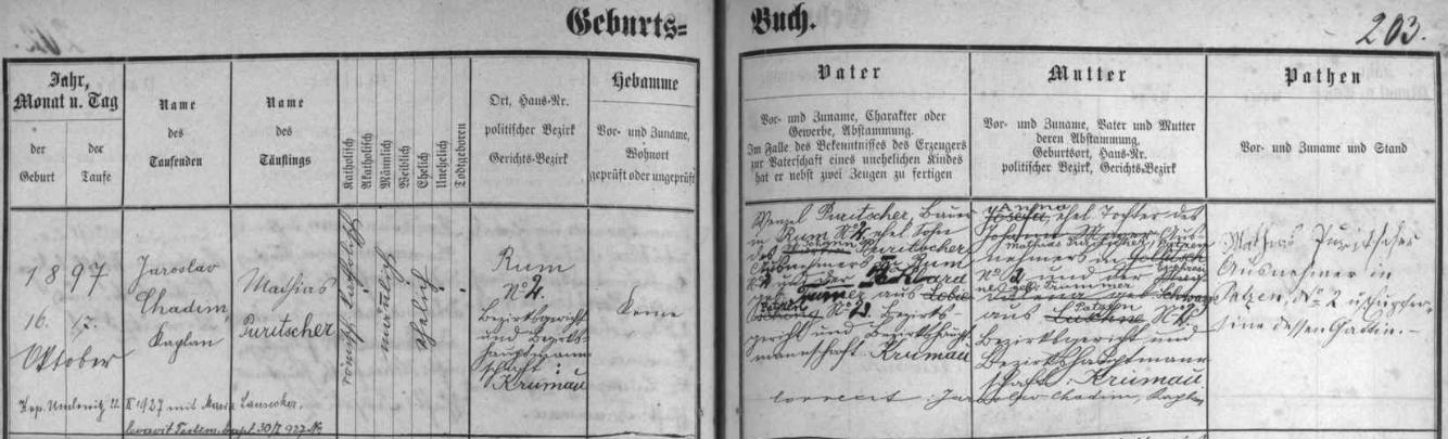 Záznam křestní matriky farní obce Zátoň o narození otcově