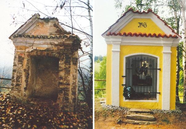 V roce 2006 obnovená Schediwe-Kapelle ve Skupečném (Moresdorf) blízko Lověšického Rovného (snímek před renovací je z roku 2002)