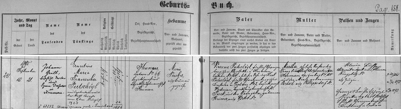 Narodila se podle záznamu v českokrumlovské matrice na Latráně čp. 66 10. září 1895, pokřtěna byla až 21. září toho roku jako Ernestine Maria Franziska Putschöglová, v srpnu 1924 vystoupila ovšem z katolické církve