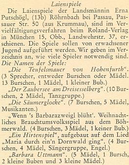 Seznam jejích lidových her, vydaných v Mnichově nakladatelstvím Roland-Verlag, je doplněn počty potřebných účinkujících při jejich provedení