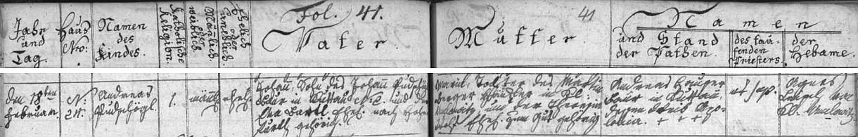 Narodil se podle záznamu v křestní matrice farní obce Omlenice jako Andreas Putschögel rolníku Johannu Putschögelovi (jeho otec Johann Putschögel sedlačil v Chudějově čp. 2, dnes zaniklém, s manželkou Ewou, roz. Bartlovou z Vyššího Brodu) a jeho ženě Marii, dceři Martina Bergera, chalupníka v Omleničce, a jeho ženy Theresie