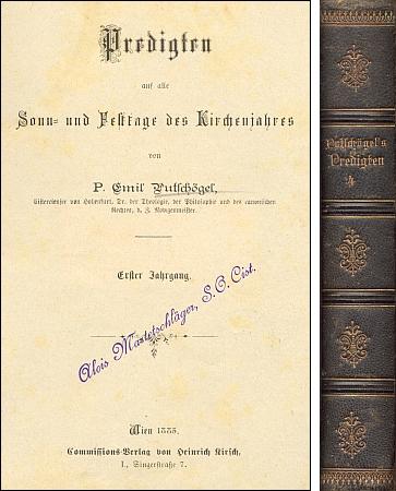Titulní list prvního svazku jeho kázání a hřbet vazby jejich svazku čtvrtého