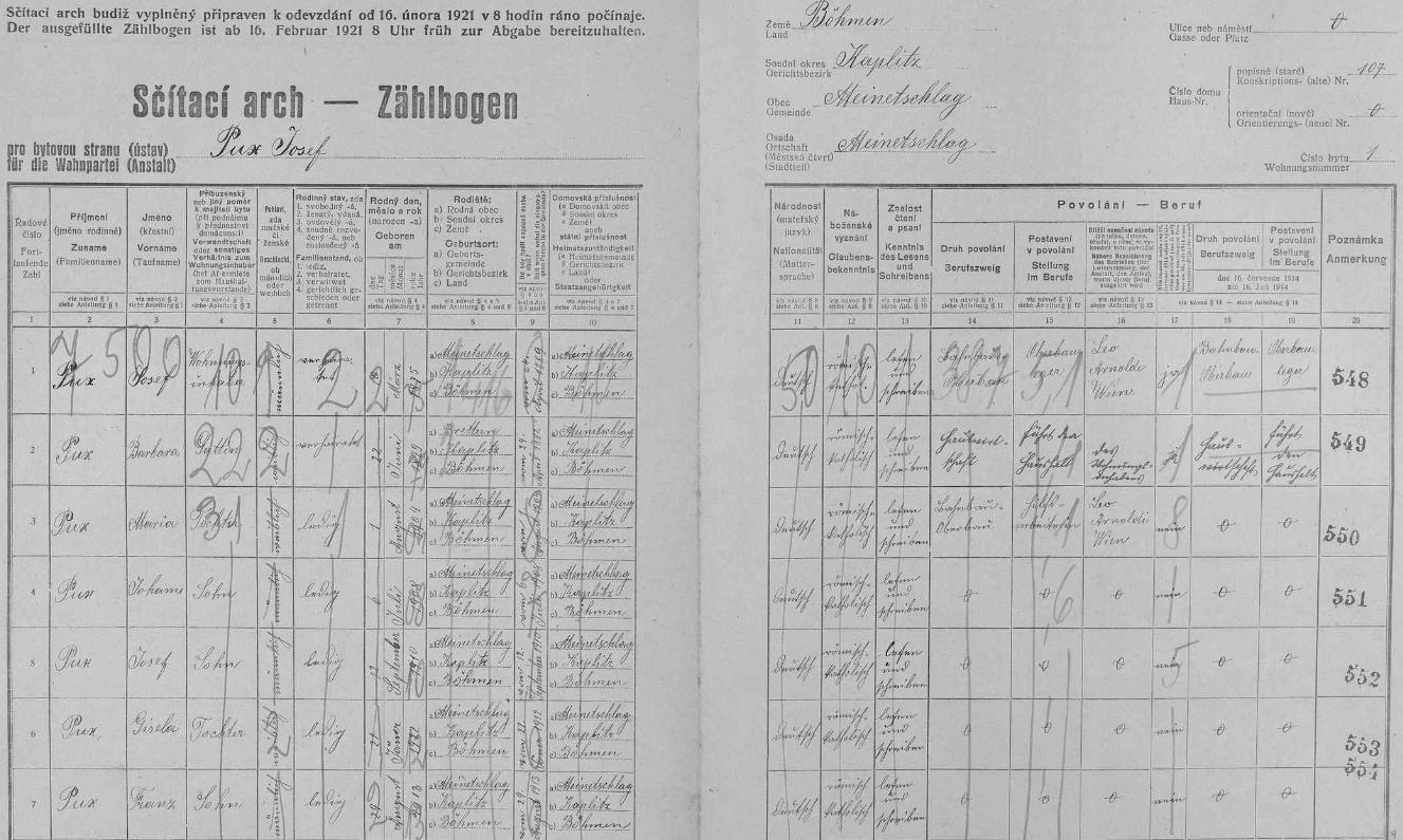 Arch sčítání lidu z roku 1921 pro dům čp. 107 v Malontech s rodinou Puxovou včetně něho