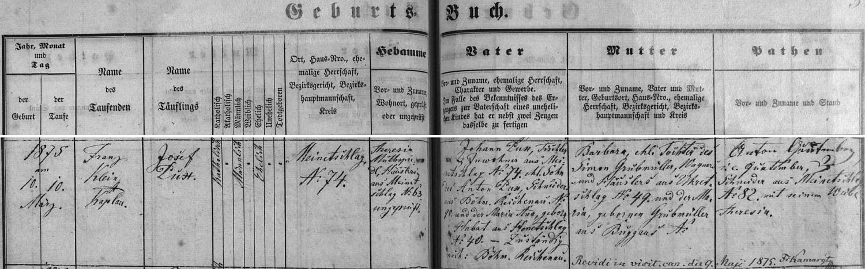 Záznam malontské křestní matriky o narození jeho otce a jmenovce