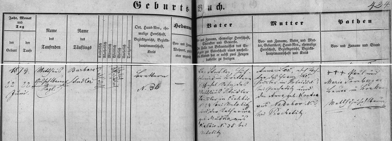 Záznam malontské křestní matriky o narození matčině v Deskách (Brettern)