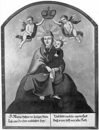 """V expozici tzv. """"Mühlviertler Heimathaus"""" ve Freistadtu je uchován i tento deskový obraz """"Maria Schnee"""" z poloviny 19. století"""
