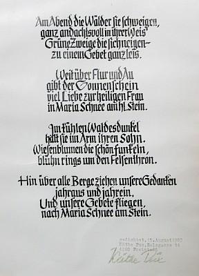 Podepsaný tisk básně Les kolem večer je němý...