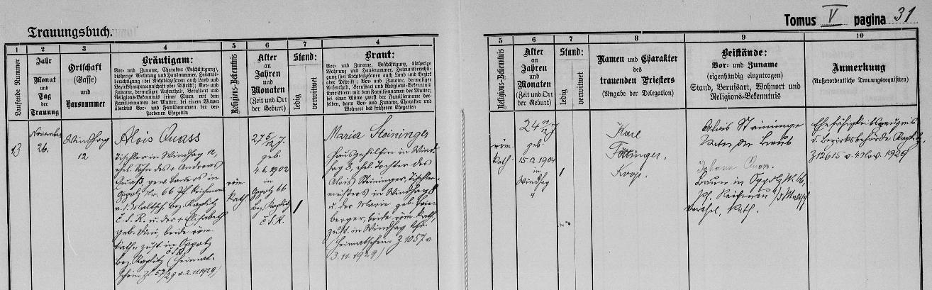 Záznam v knize oddaných o svatbě rodičů v roce 1929 ve Windhaagu